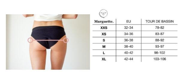 La culotte menstruelle fabriquée en France est disponible du XXS au XL.