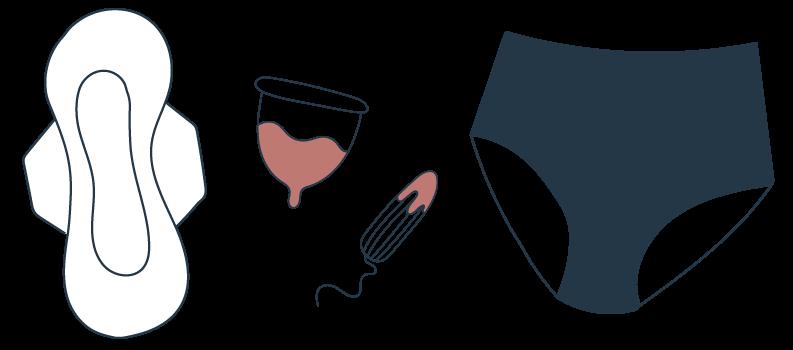 protections menstruelles : serviettes hygiéniques, tampons, coupes menstruelles et culottes menstruelles